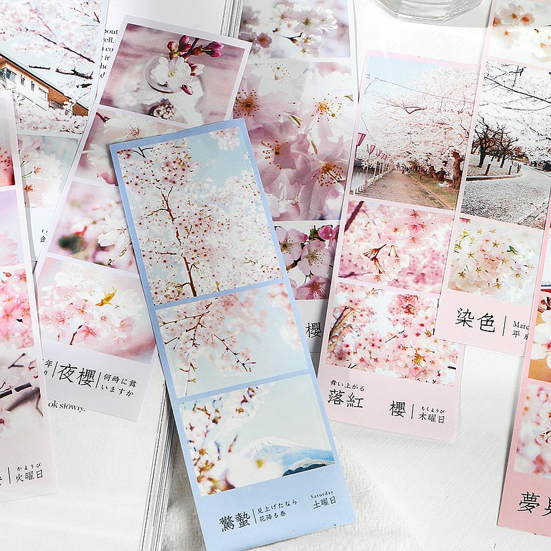 InfeelMe warm air self-adhesive combination cherry blossom decoration stickers [grass flying cherry long] tear-resistant and waterproof 3 sheets