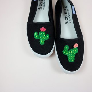 Black cotton canvas hand-made shoes warm cactus models non-woven models