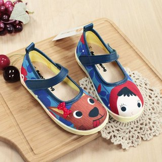 Illustration girl shoes - little red riding hood / blue