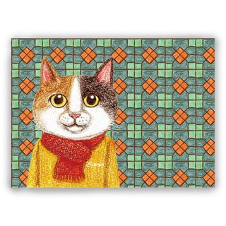 Hand-painted illustration Universal / postcards / cards / illustration card - retro tile 04 + sweater three cats