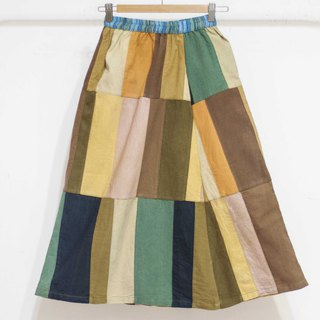 Cotton and linen patchwork skirt / ethnic skirt / color block stitching skirt / bohemian skirt - South American forest hills