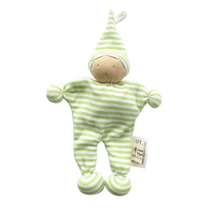 埃及製 有機棉安撫娃娃-淺綠條