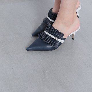 Pleated fine belt low heel slipper blue
