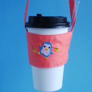 Penguin bag can be embroidered on the back of the Chinese name in English green drink bag