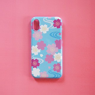 Plastic iPhone case - Japanese Cherry Blossoms and Water Flow -