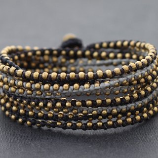 Monotone Gray Brass Beaded Bracelets Woven Wrap Strand For Men And Women