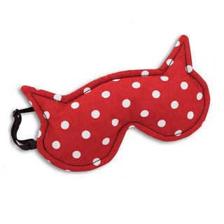 Soothing Fatigue / Cold Eye Goggles - cat female modeling (red white point)