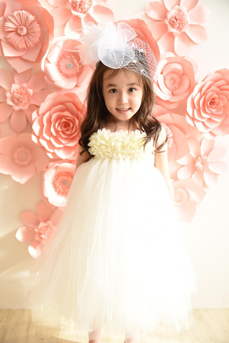 Princess 澎澎 skirt dress DIY material package birthday catching 涎 party flower girl 0-7Y white