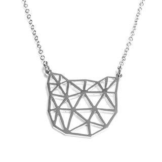 Abstract polygon cat graphic necklace
