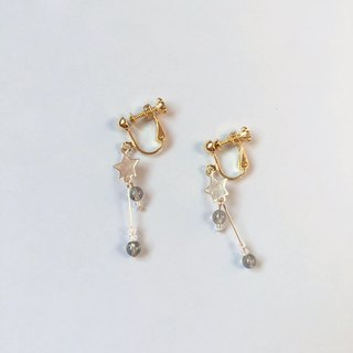 Brilliant ◆ [Light Jewelery 14KGF Series] Gypsophila Natural Scissors Crystal Irregular 14k Note Gold Earrings Ear Ear Ear Earrings