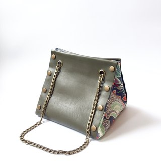 Small Create-your-own Cube Bag with green leather