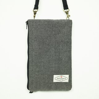HAZA touch dual phone bag / Universal bag (with hook strap) black denim