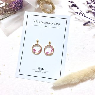 【花弦月】Peony-colored peach red dry flower series earrings (can be changed ear clip)