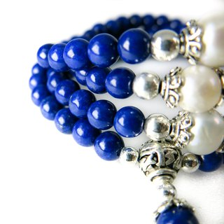 READ Dazzling Line | Handmade Top Lapis Natural Freshwater Pearl 108 Hand Beads