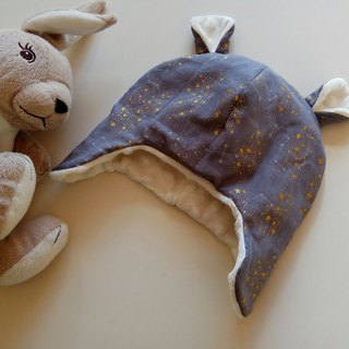 Gray constellation Miyue gift baby flying cap baby hat warm hat baby earmuffs bear cap
