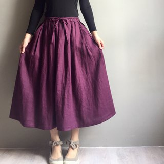 Exclusive Order* Purple Sister Flower 1 Elegant and Elegant Deep Purple Linen Bandage Medium Skirt 100% Linen