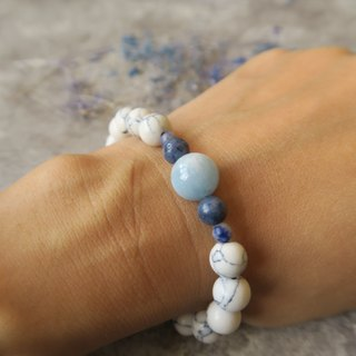 Aquamarine [Spiritual • Small Hand-Made] Aquamarine. Blue Coral Stone. White Turquoise. Blue Stone (Soda Stone). Unisex Neutral Single-Loop Bracelet