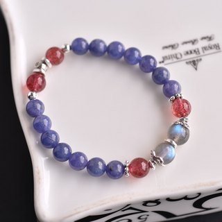 Danquan stone + strawberry crystal + glare labrador sterling silver bracelet