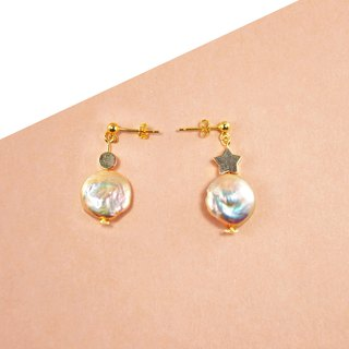Pearls 925 Silver Earrings 【Champagne Pearls Earrings】【Christmas Earrings】