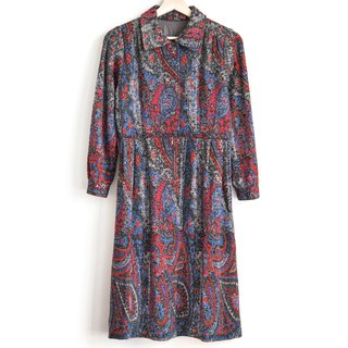 Vintage Amoeba Hair Vintage Long Sleeve Dress
