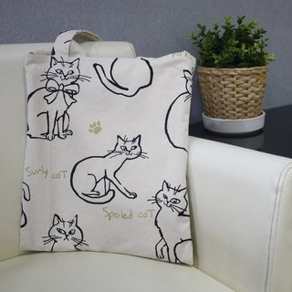 Double-sided Wenqing carrying back dual-use bag (white cat)