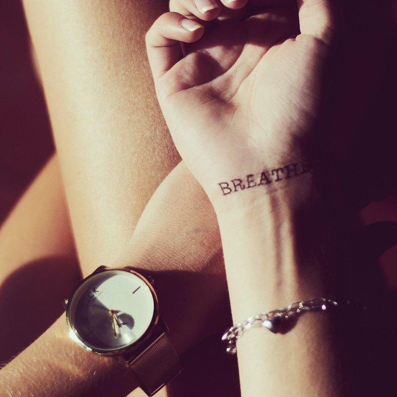 0dee4b47c32aa TOOD Tattoo Sticker | Wrist Location English word 'BREATHE' Tattoo Tattoo  Sticker (4 pieces) - Designer OhMyTat | Pinkoi
