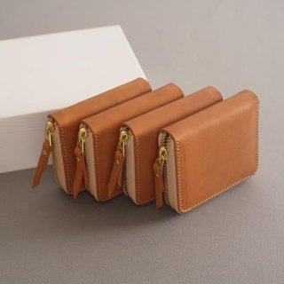 """RENÉE"" small zipper purse / mo type / headset storage / European plant tanning carving leather / plant tannage / vegetable tannage yellow"