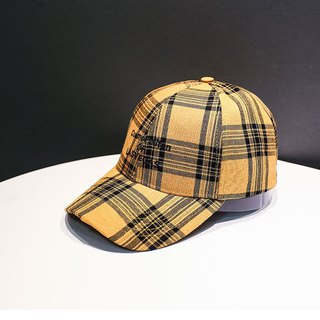 Classic English Checkered Cap::Yellow::