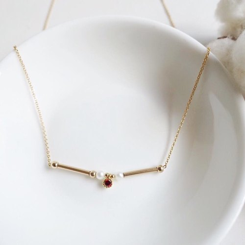 Miluku 14kgf pearl gold tube small pendant necklace