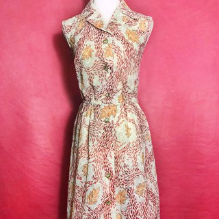 Flower textured sleeveless vintage dress / brought back to VINTAGE abroad