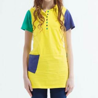 Colorful color patchwork neckline long-sleeved hat Tee-yellow
