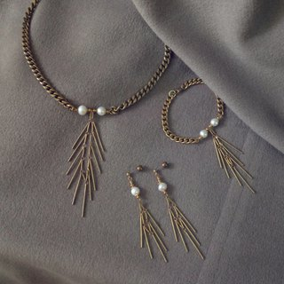 Brass fish bone pearl series - set