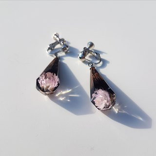[handmade custom] iron knife wood ice crystal flower earrings
