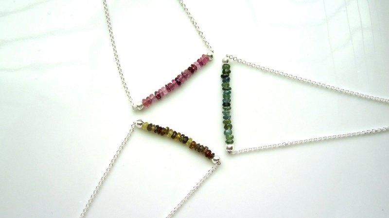 【Constant】 multicolor tourmaline x 925 silverware - Handmade natural stone series