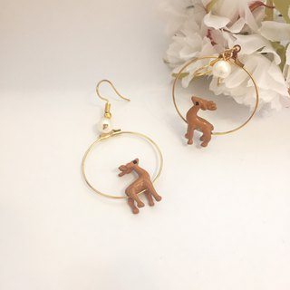 Deer Metal Circle Pearl Earrings