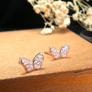 Butterfly Flying Butterfly Silver Earrings (Rose Gold)