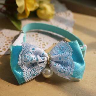 """Aqua"" small pearl lace ribbon bow ︱ safe hands to do cats and dogs pet collar / collar / hair accessories cherry pudding Cherry Pudding ♥ ♥"