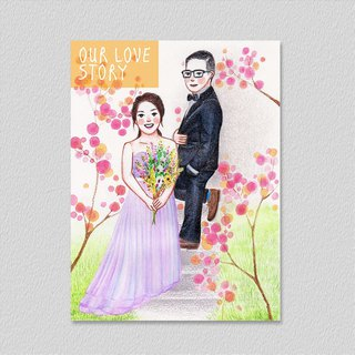 Happy movement: wedding invitation / wedding card portrait design (hand-painted + computer arrangement) - with positive original painting