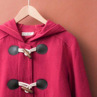 Retro autumn and winter pink loose hooded vintage horn buckle coat jacket