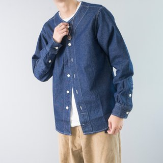 Japanese matching American retro baseball collar denim shirt primary color denim long sleeve shirt denim shirt
