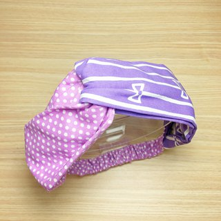 Pink purple bow handmade cross hair band elastic hair band