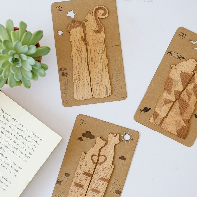 [Christmas Gifts] Animals have love series - Wood bookmarks (6 in) ─ [VUCA-Design]