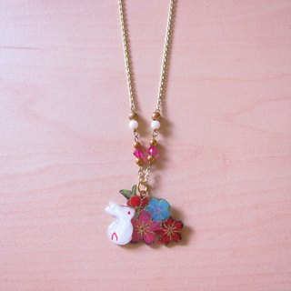 Purple Bunny // 2nd use Accessories / Accessories Cloth / pair of small white rabbit necklace hand-made