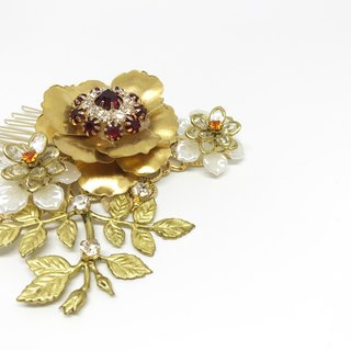 Ruby Garden Bride Marriage Handmade Amphibole Retro Gold Headdress