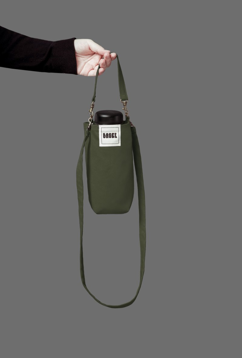 Universal environmentally friendly beverage bag detachable long strap with oblique shoulder carrying army green