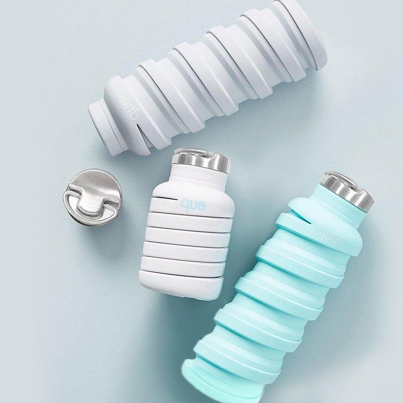que 伸縮環保水瓶 600ml 附提把瓶蓋 食品級矽膠 防漏設計 輕巧