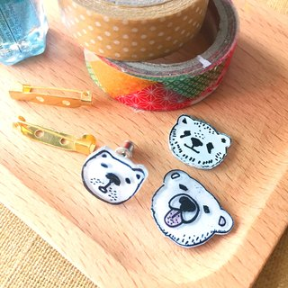 Oops bear - White Bear handmade brooch(3 style can choose)