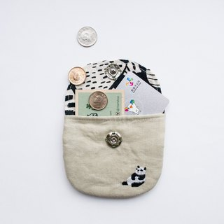 熊貓 Panda Embroidered Linen Wee Pouch