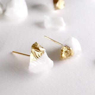 STAR STONE stud earrings - WHITE + 24K GOLD