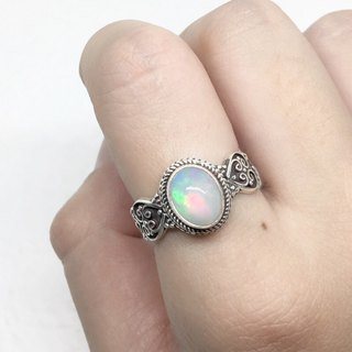Opal 925 Sterling Silver Heavy Industry Elegant Style Ring Nepal Handmade Mosaic (Style 1)